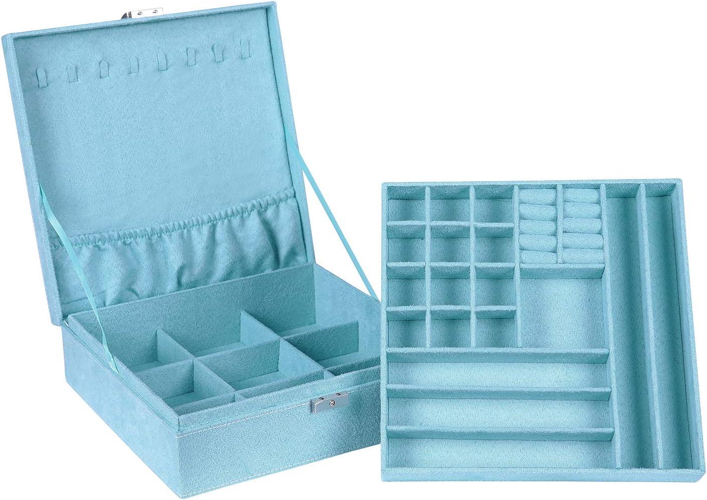 Jewelry Box Two-Layer Lint Jewelry Case Organizer Women Earring Necklace Bracelet Display Storage Box with Lock, Blue