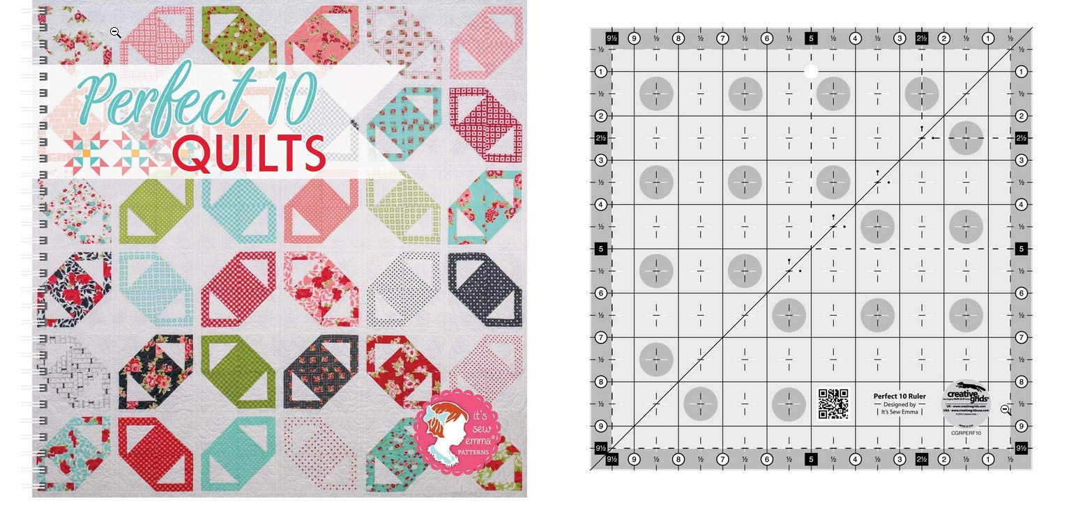 Perfect 10 Quilts Bundle- Creative Grids Perfect 10 Ruler and Perfect 10 Quilts Pattern Book by Creative Grid