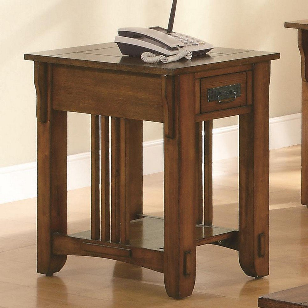 Amazon.com: Coaster Drawer Side Table With Shelf, Warm Brown: Kitchen U0026  Dining