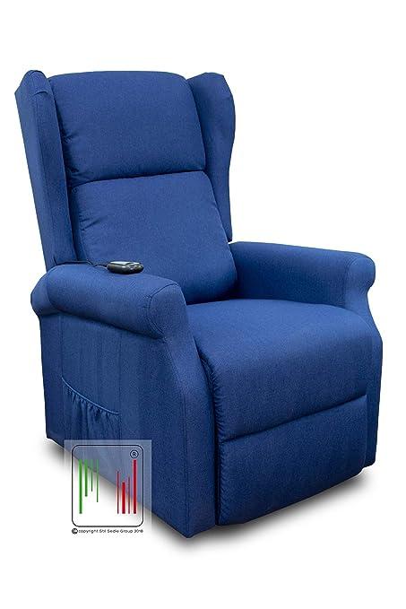 Poltrona Reclinabile Elettrica.Stil Sedie Poltrona Relax Reclinabile Elettrica Alzapersona Bergere In Tessuto Mod Giada Blu