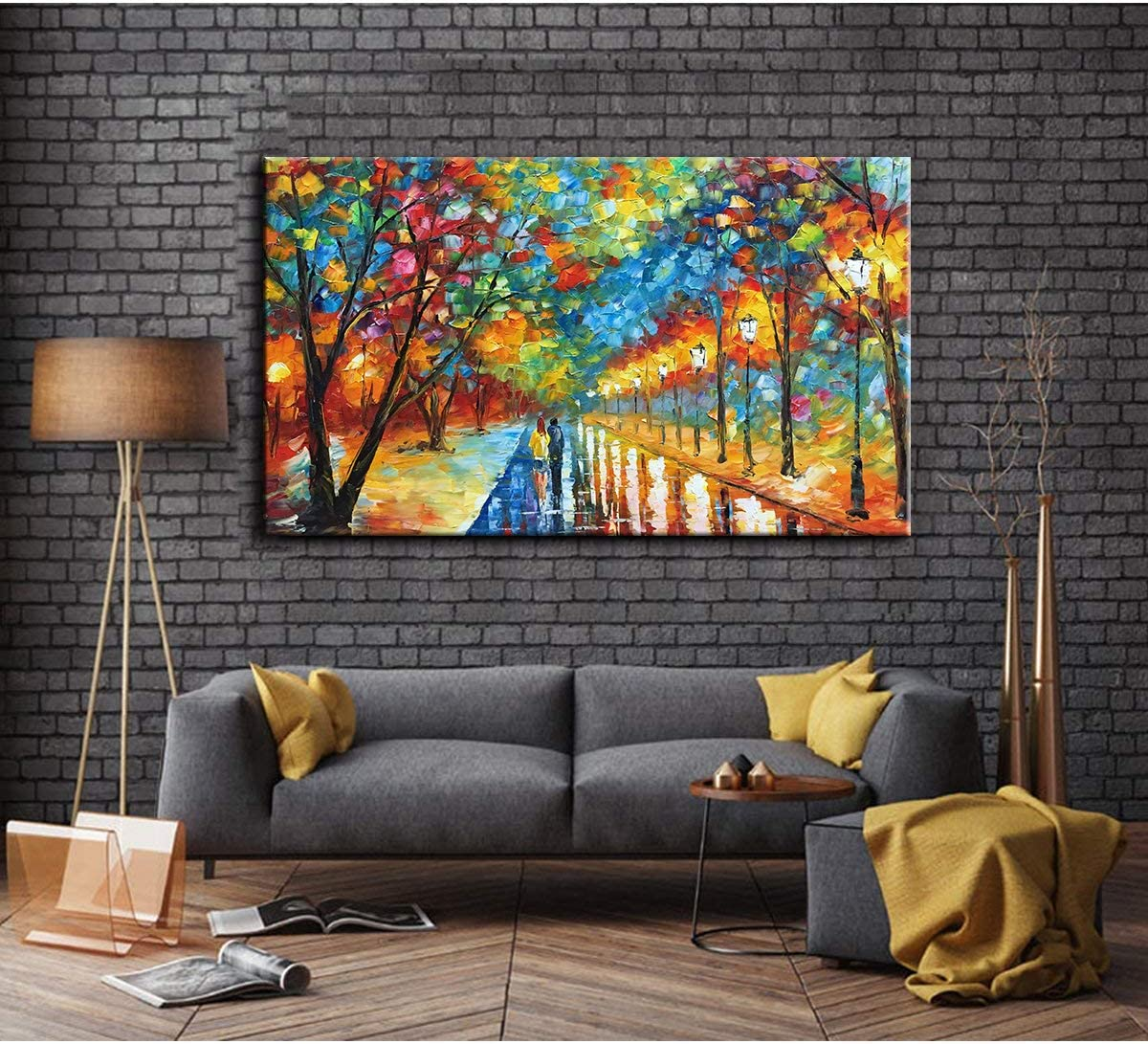 Tyed Art- 24X48 Inch Oil Paintings on Canvas Art 100 Hand-Painted Contemporary Artwork Abstract Artwork Night Rainy Street Wall Art livingroom Bedroom Dinning Room Decorative Pictures Home Decor