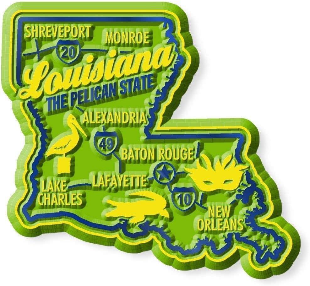 Premium Louisiana Map Fridge Magnet