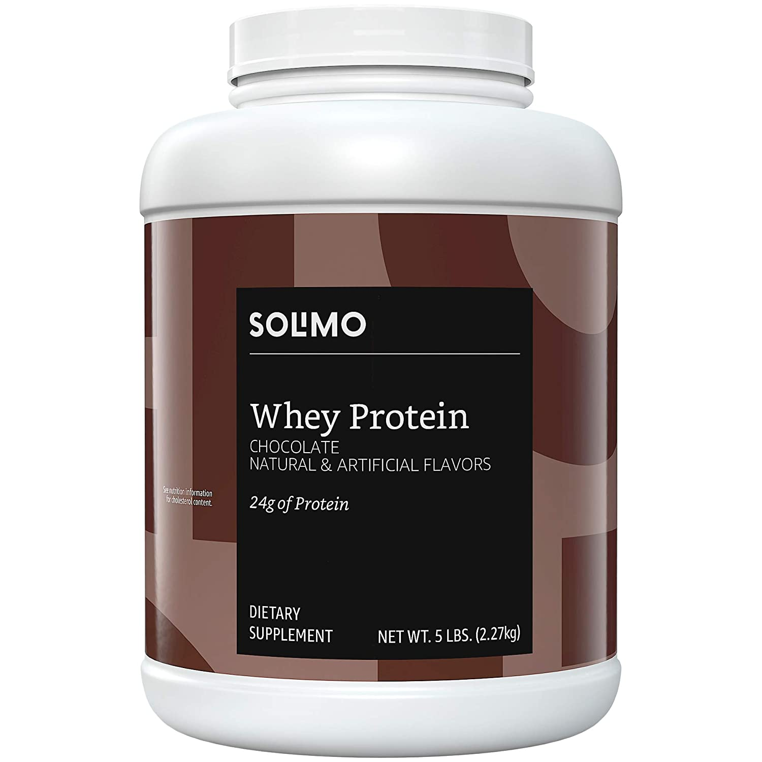 Amazon Brand – Solimo Whey Protein Powder, Chocolate, 5 Pound Value Size 57 Servings