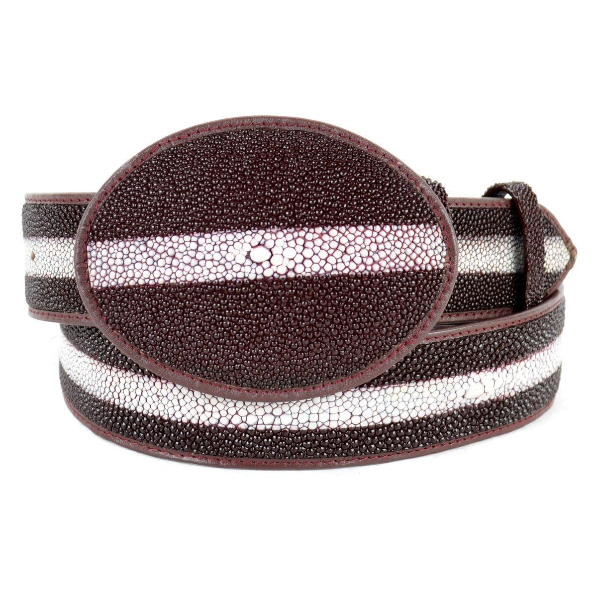 Original Burgundy Rowstone Finish StingRay Skin Western Style Belt