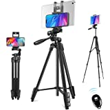 Phone Tripod, 60'' Camera Tripod 2 in 1 Lightweight Travel Tripod Stand for iPhone ipad Universal Smartphone Tablet Camera Go