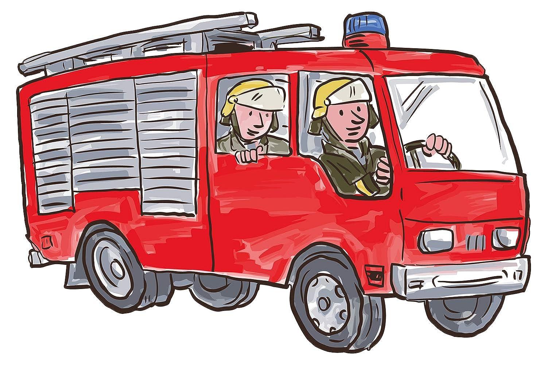 Wandtattoo Kinderzimmer Feuerwehr Auto mit Feuerwehrmännern Wandsticker