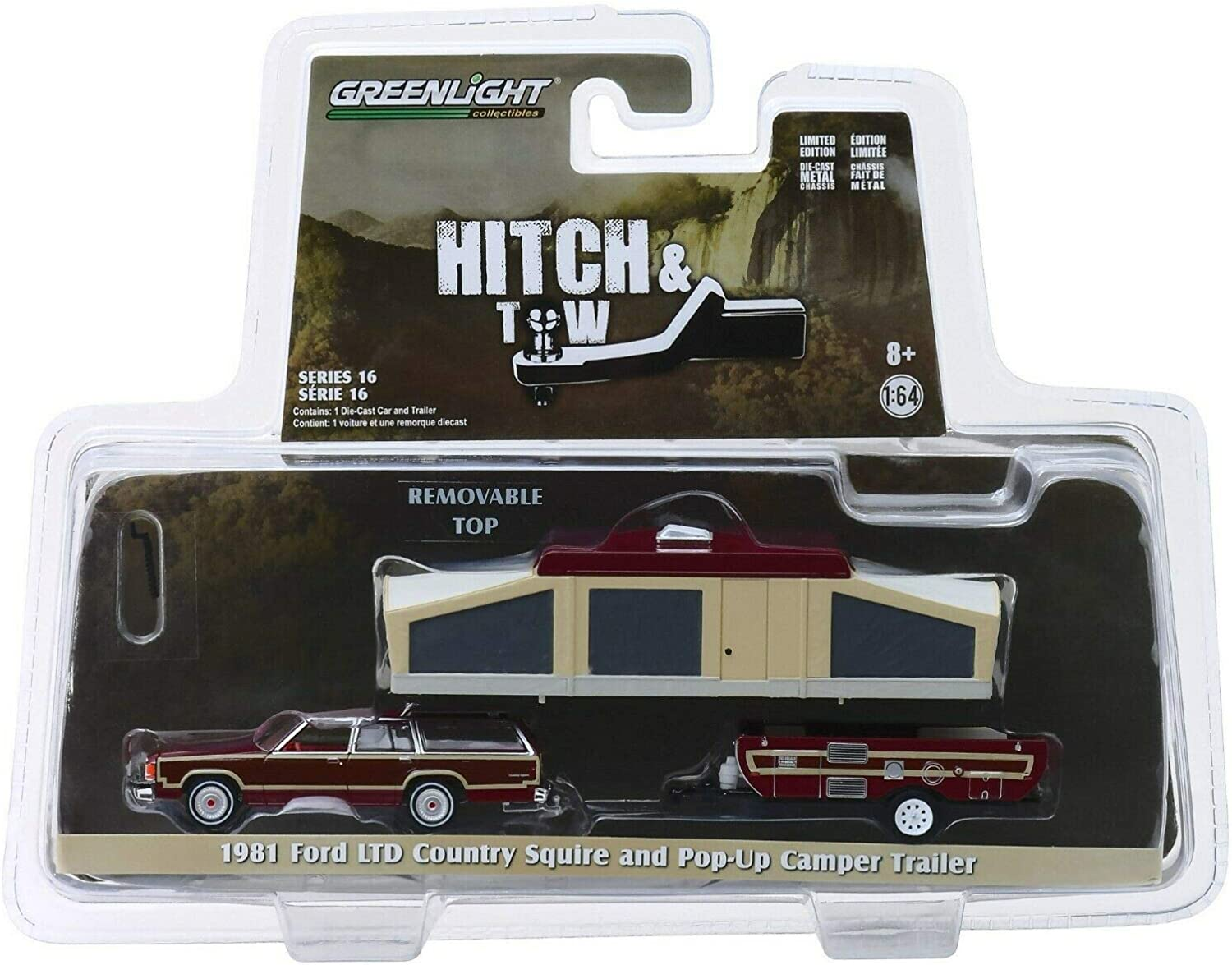 Greenlight 1//64 Hitch /& Tow Series 16-1981 Ford LTD Country Squire and Pop-Up Camper Trailer Diecast Model Car 32160C