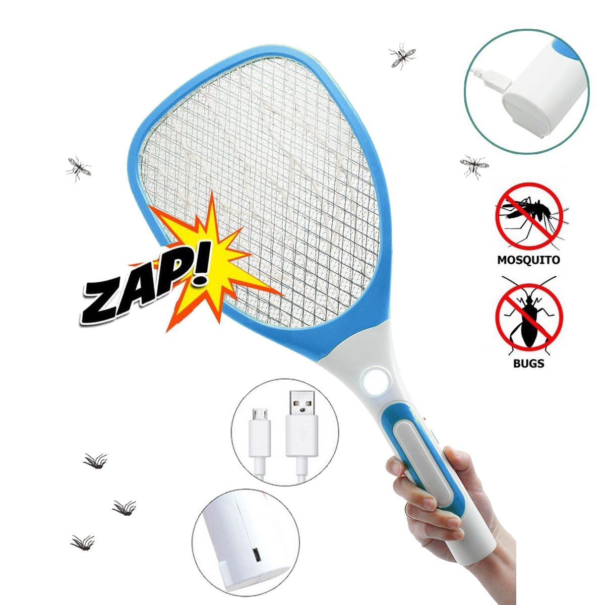 USB Rechargeable Electric Fly Swatter Bug Zapper Mosquito Killer Racket with LED Flashlight (White Blue)