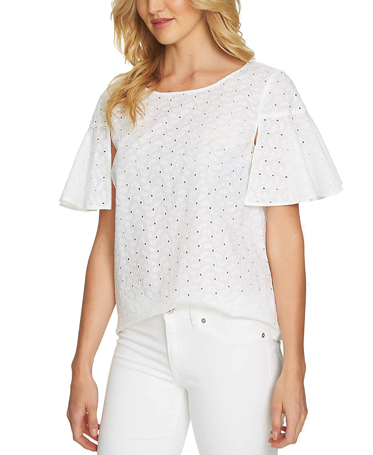 b9d62d4a1a9 CeCe Cotton Eyelet Flutter-Sleeve Top (Ultra White, S) at Amazon Women's  Clothing store: