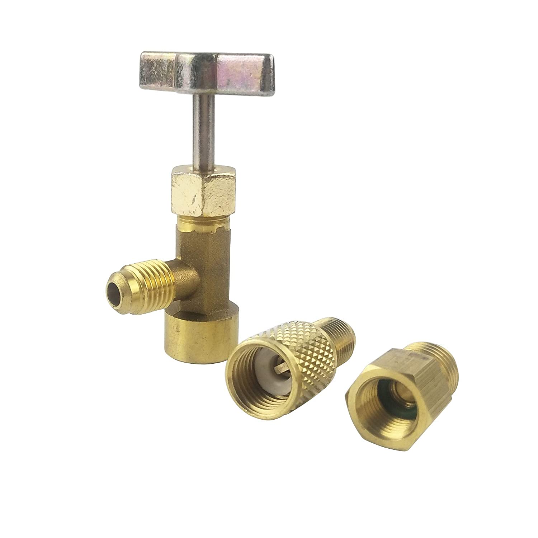 Wisepick R1234YF Can Tap 1/2″ ACME w/LH threads female X 1/4″ SAE female X 1/2″ ACME male Vacuum Pump Adapter