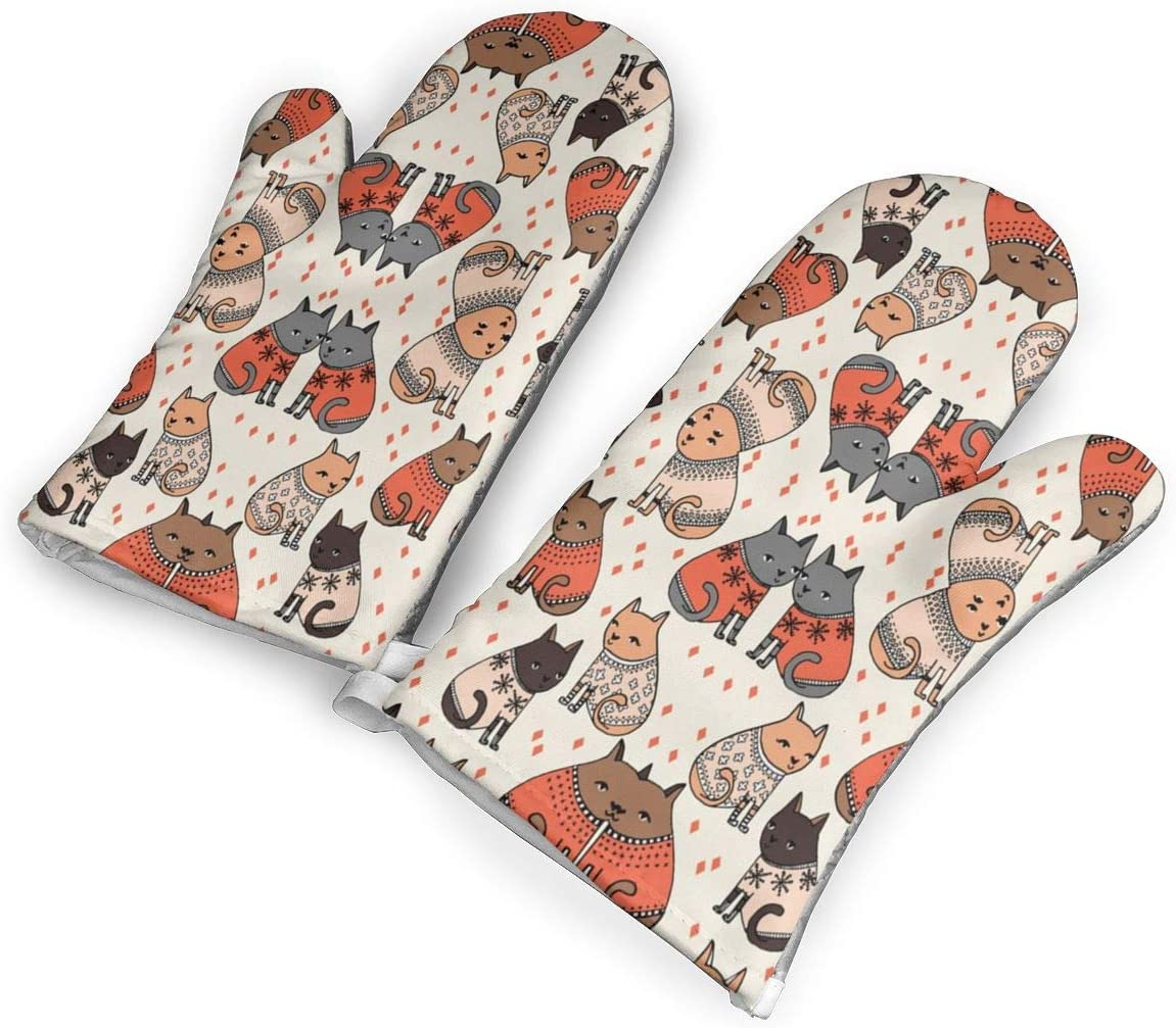 QOQD Cats in Sweaters Holiday Christmas Oven Mitts with Polyester Fabric Printed Pattern,1 Pair of Heat Resistant Oven Gloves for Cooking,Grilling,Barbecue Potholders