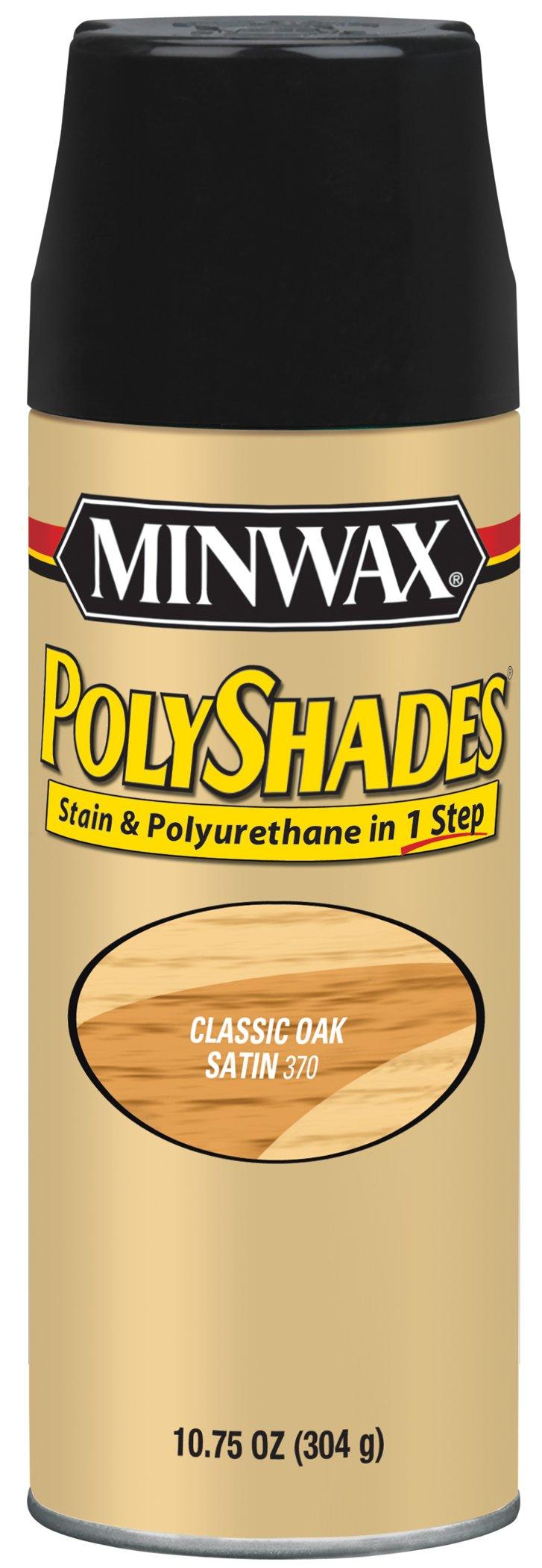 Minwax 313700000 Polyshades - Stain & Polyurethane in 1 Step, 10.75 ounce Spray, Classic Oak, Satin