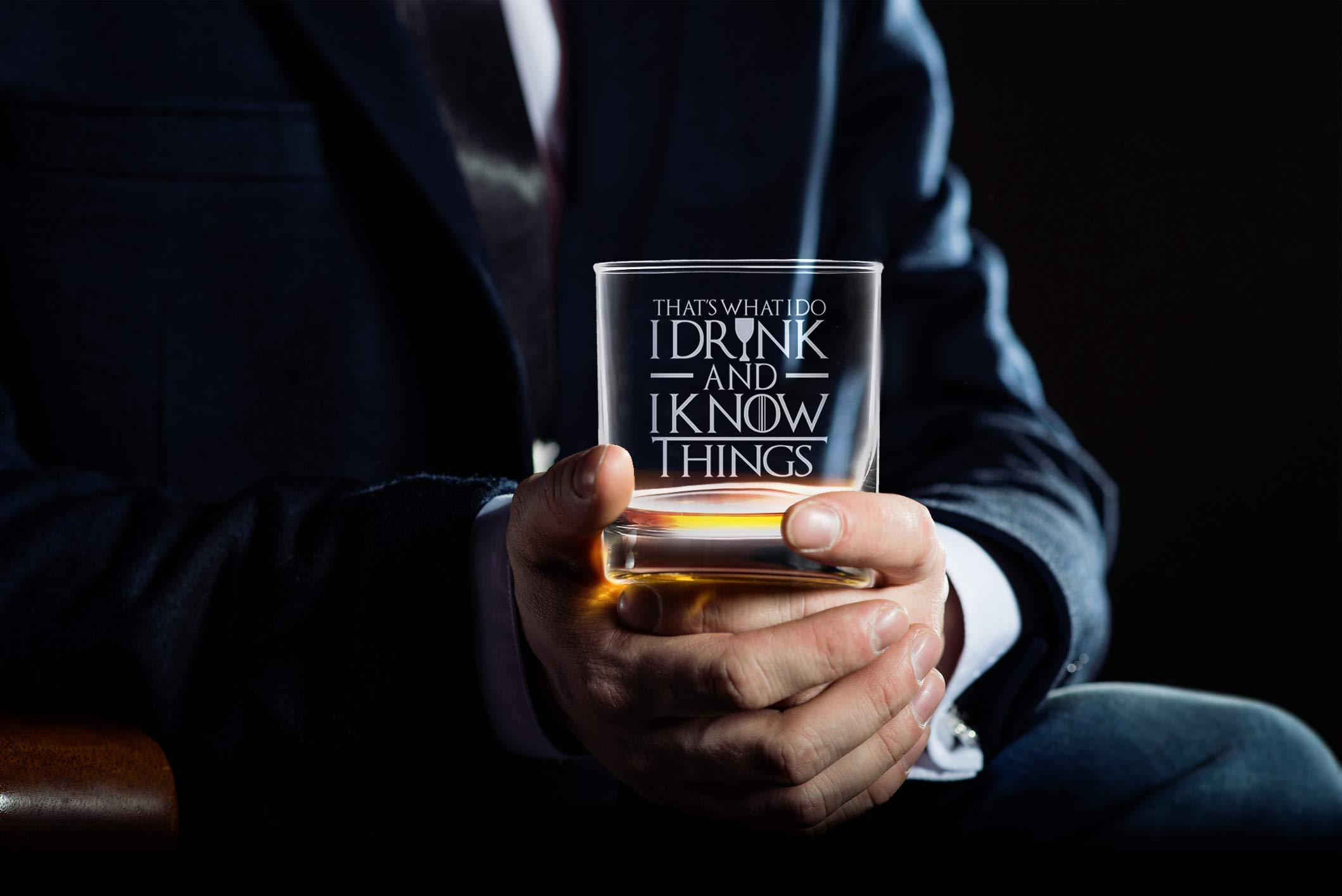 I Drink And I Know Things Highball Whiskey Glasses - Set of 2 - by FOLE (Image #5)