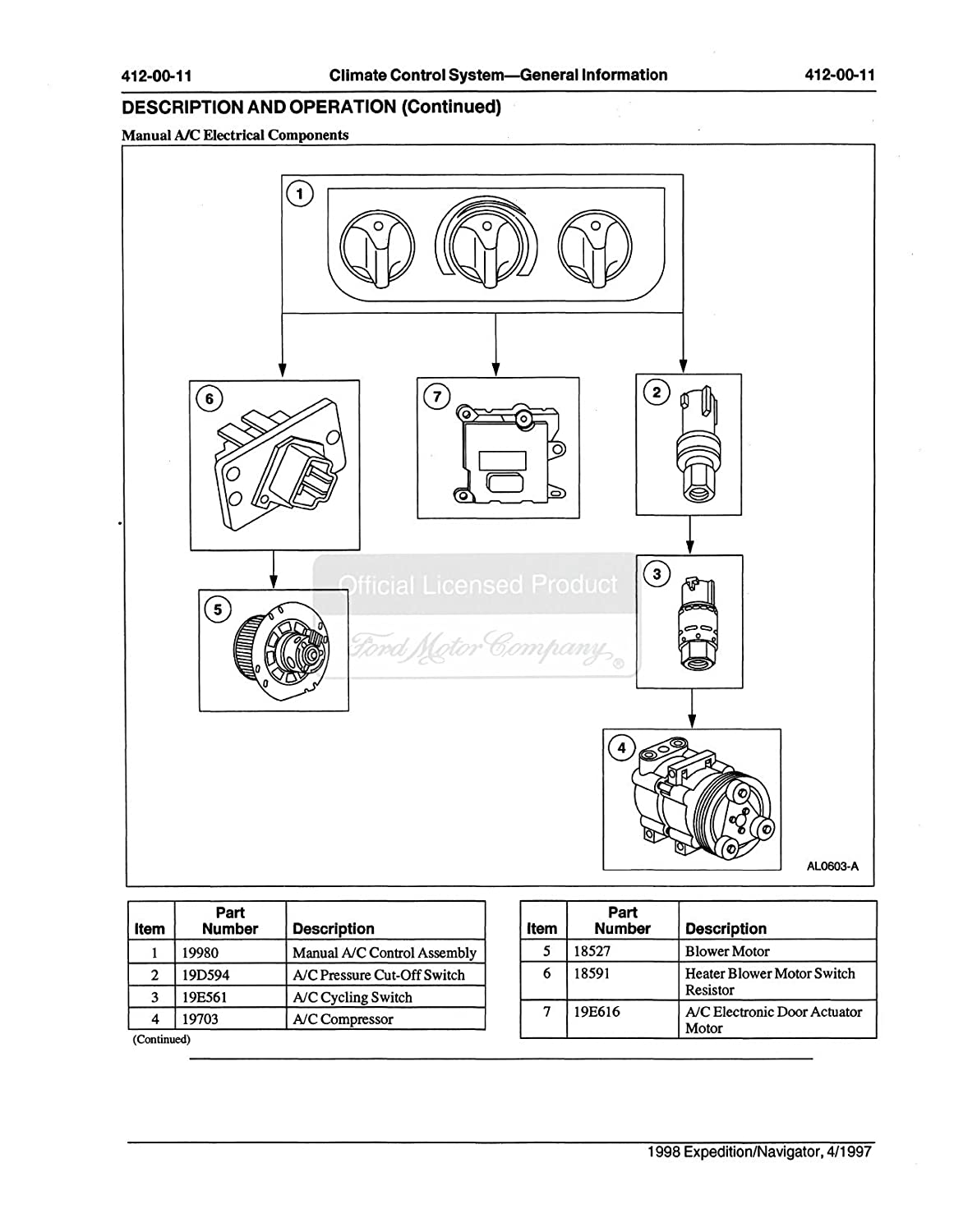 Bishko Automotive Literature 1998 Ford Navigator F150 Expedition Heater Blower Motor Control Resistor Shop Service Repair Manual Book Engine Wiring Oem