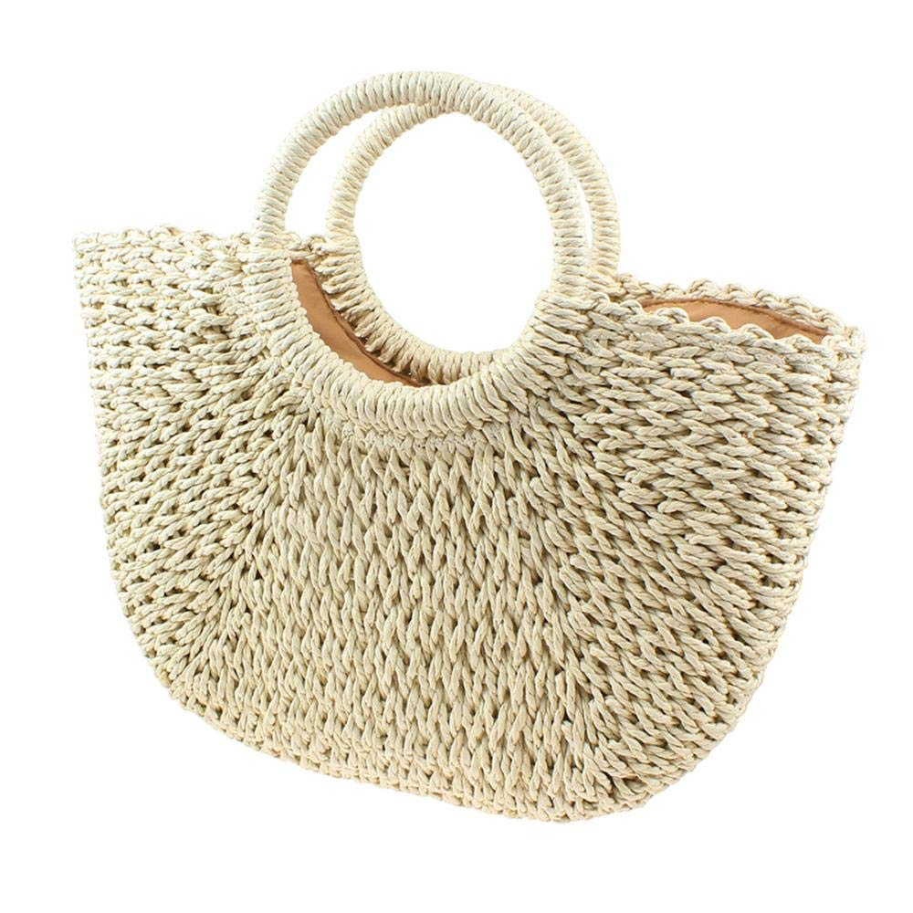 Beige Handwoven Rattan Bag Large Hobo Handbag Weave Tote Straw Bag for Women Summer Beach Bags