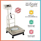 i Scale 60kg Capacity, Digital Commercial Platform Weighing Machine with Double Display,16 x 16 inch pan size, White