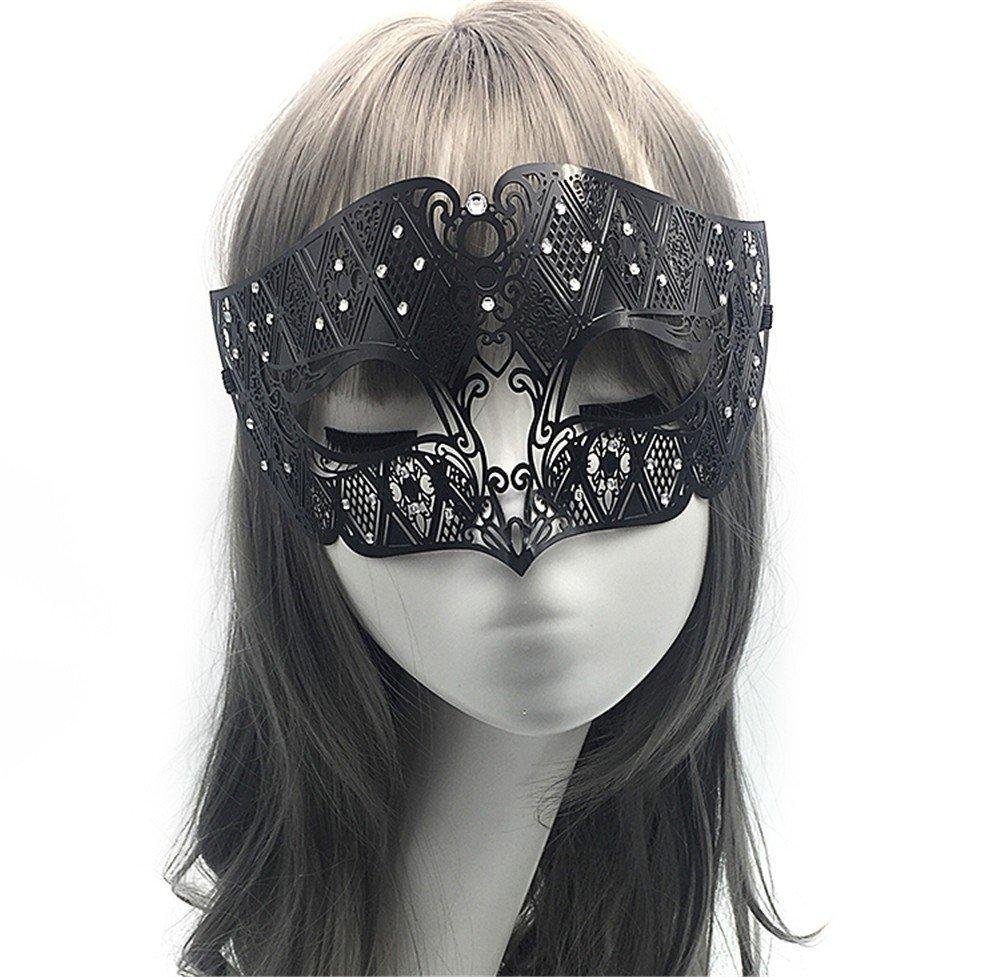 PromMask Mascara facialVenecia Maquillaje Baile de Gala Máscara de Hierro Fiesta para Hombres y Mujeres Mitad de Cara Máscara de Zorro Metal Diamante de ...