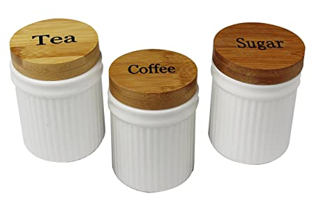 Cream tea coffee sugar jars round ribbed shape ceramic canisters with bamboo lids