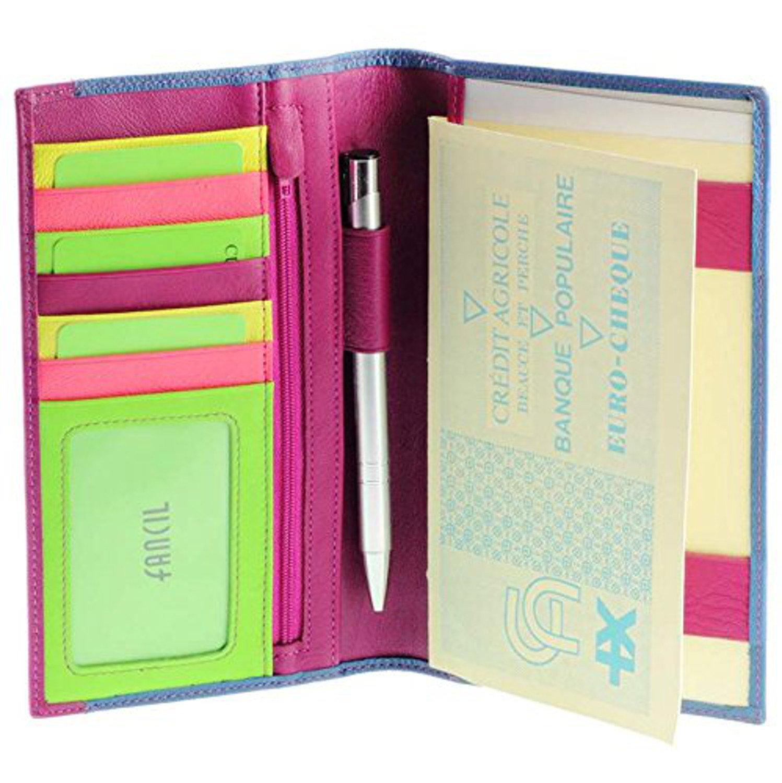 Compagnon/porte chéquier femme / Portefeuille en cuir N1552 Bleu-Violet