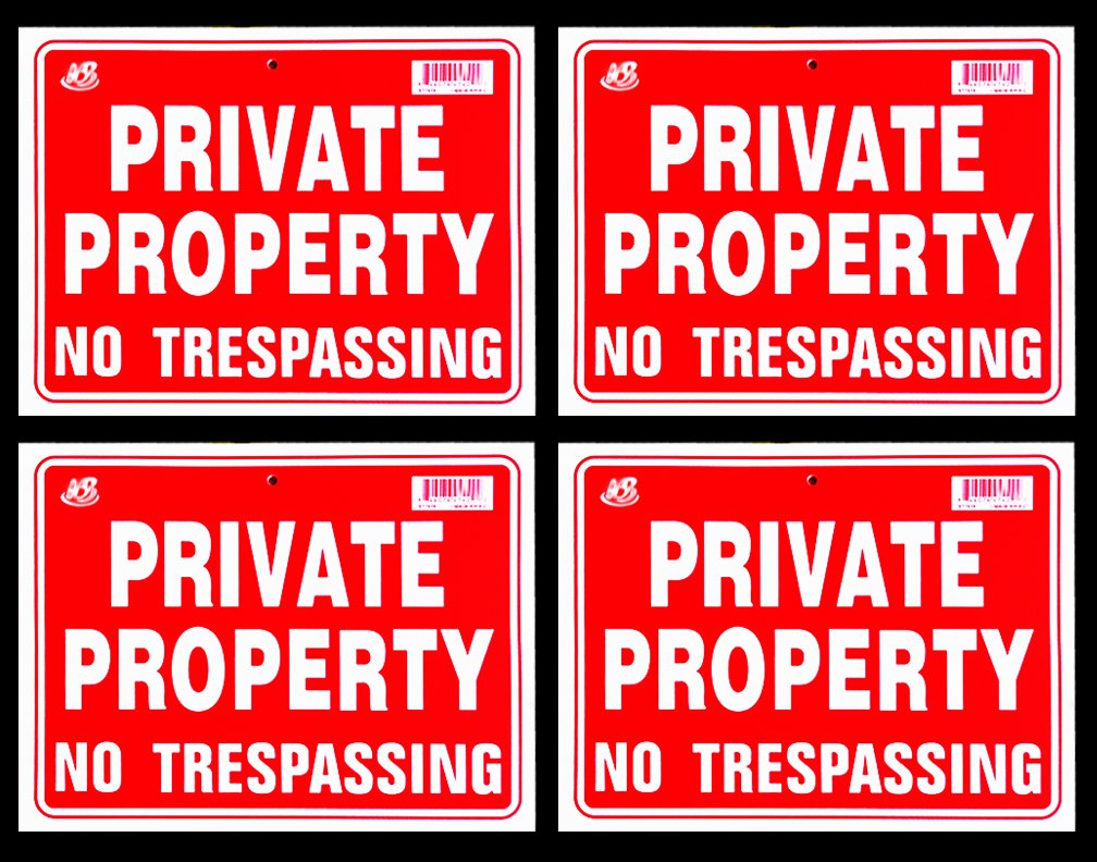 Private Property No Trespassing Sign 9 x 12 Inch - 4 Pack by JMK (Image #1)