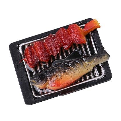 NON Sharplace Escala 1/6 Miniaturas Barbacoa Alimento de Plancha de Hierro de Dollhouse -