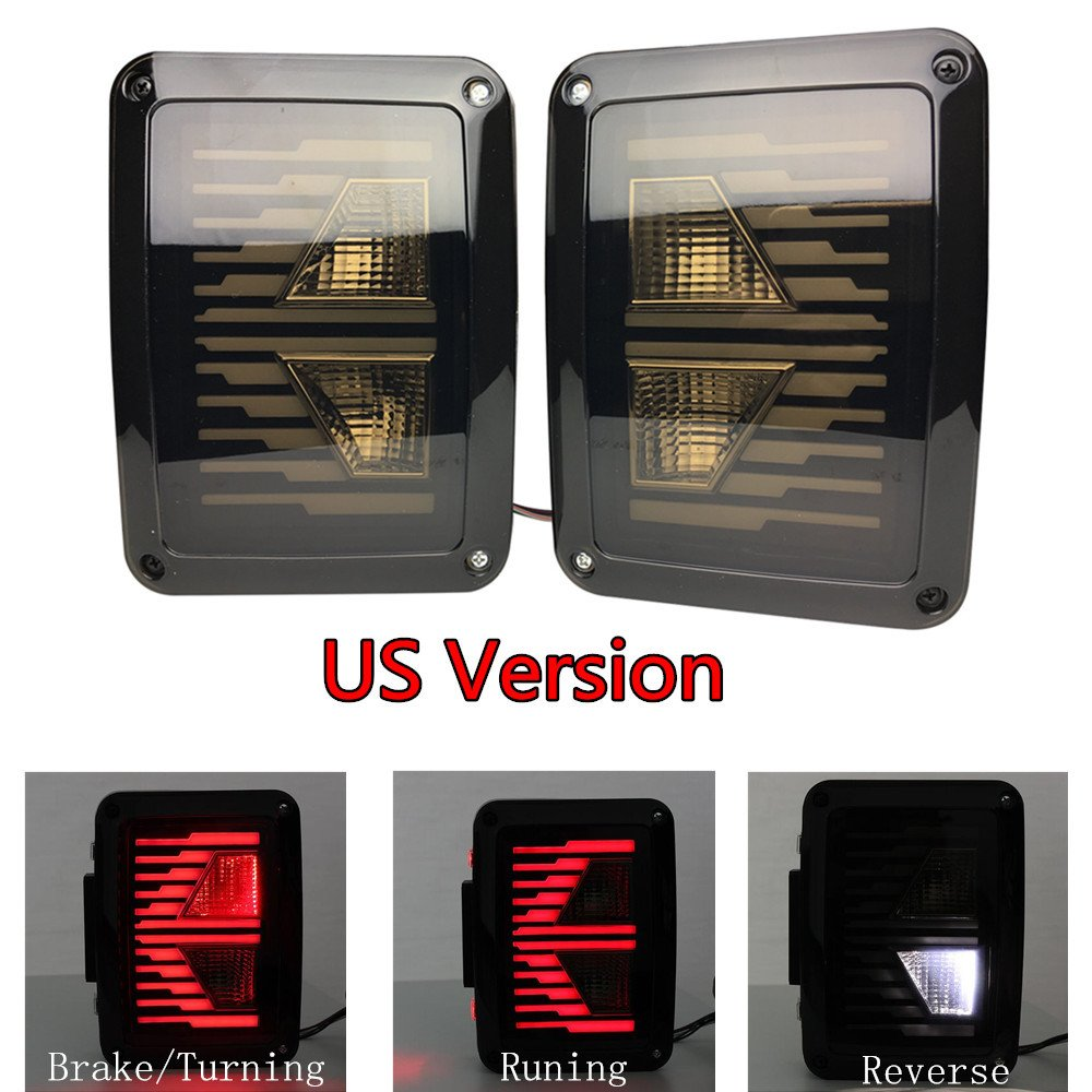 DOT Approved Lantsun Smoked Lens LED Tail Lights Assembly Rear Light Brake Reverse Taillights Back Up for Jeep Wrangler Jk JKU 2007-2017(US Version)305 Lantsun Group