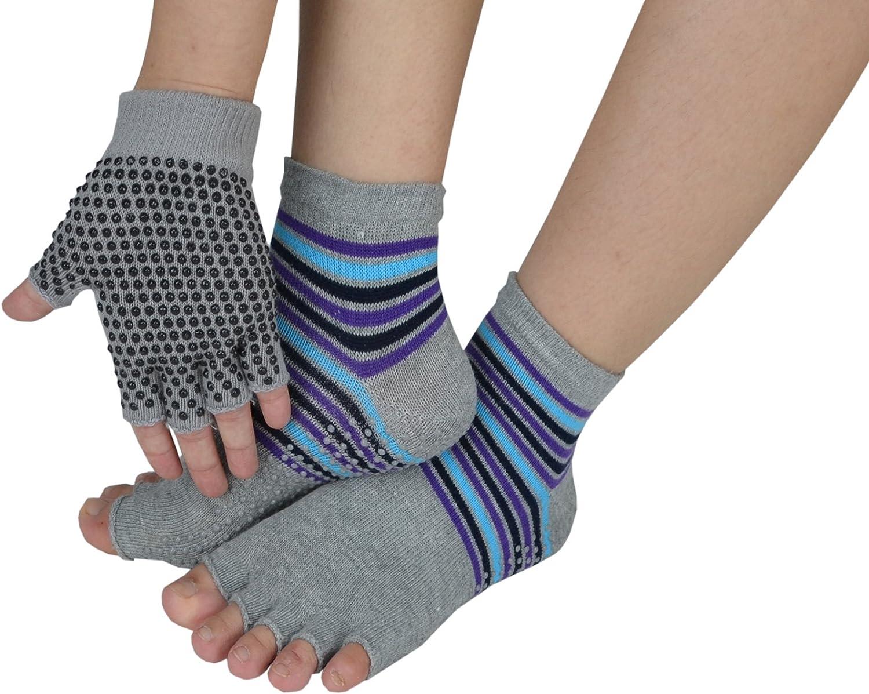 Fingerless Exercise Non Slip Yoga Pilates Gloves Socks with Silicone Dots