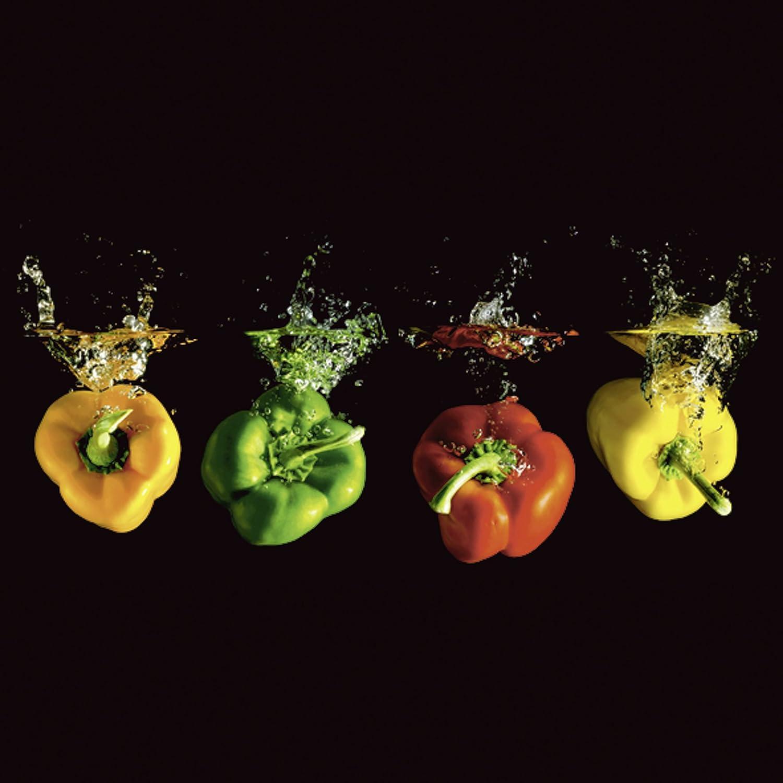 Artland Qualit/ätsbilder I Glasbilder Deko Glas Bilder 20 x 20 cm Ern/ährung Genuss Lebensmittel Gem/üse Foto Bunt A7QN Paprika Wasser