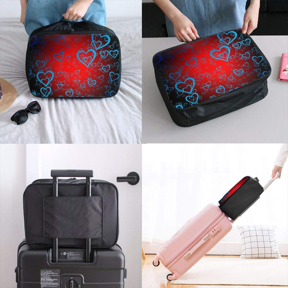Heart Light Romance Travel Lightweight Waterproof Foldable Storage Carry Luggage Large Capacity Portable Luggage Bag Duffel Bag
