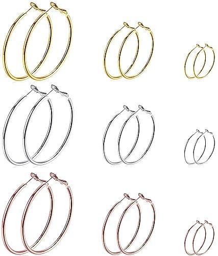 Amazon.com: Juego de 9 pares de pendientes de aro chapados ...