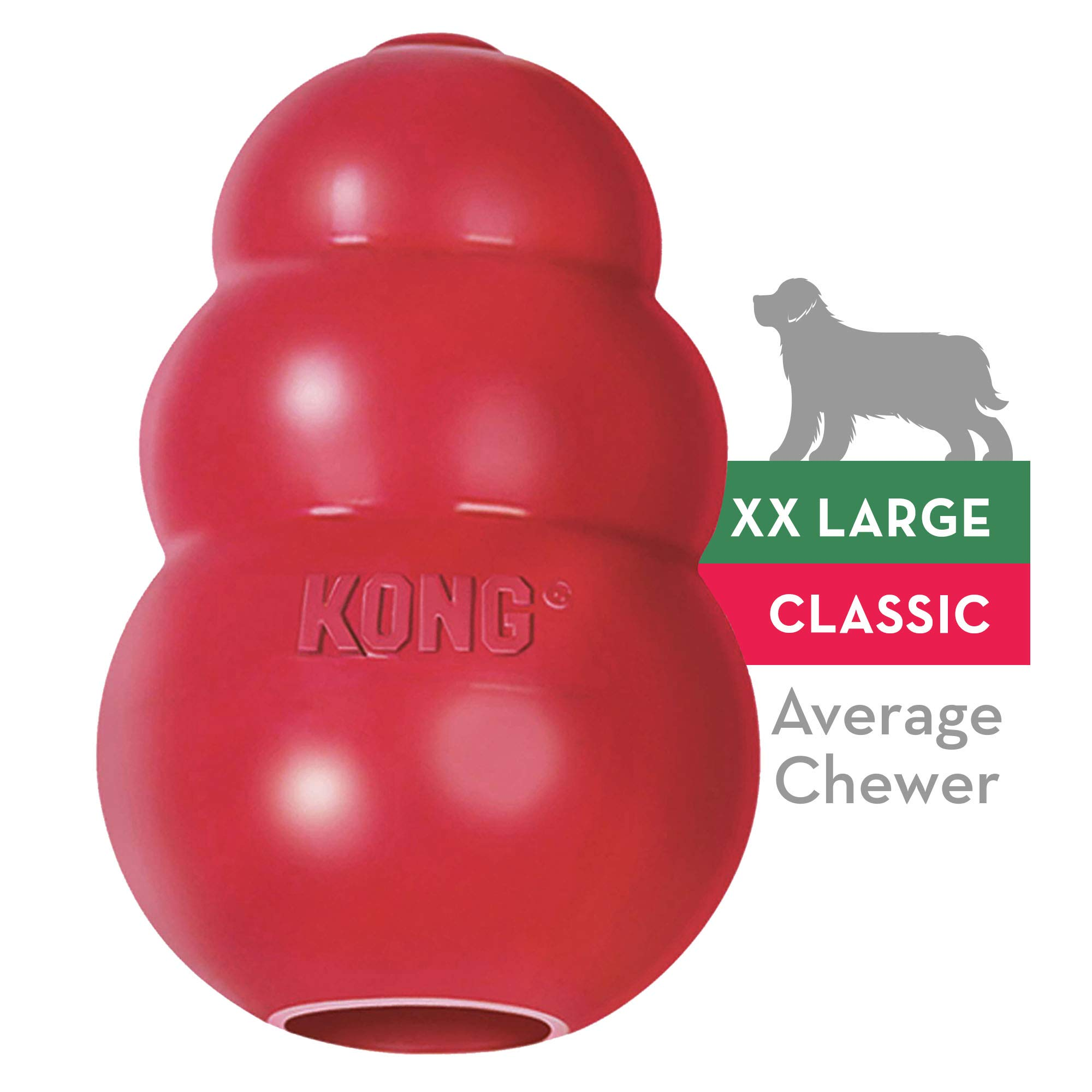 KONG - Classic Dog Toy - Durable Natural Rubber - Fun to Chew, Chase and Fetch - for XXL Dogs by KONG