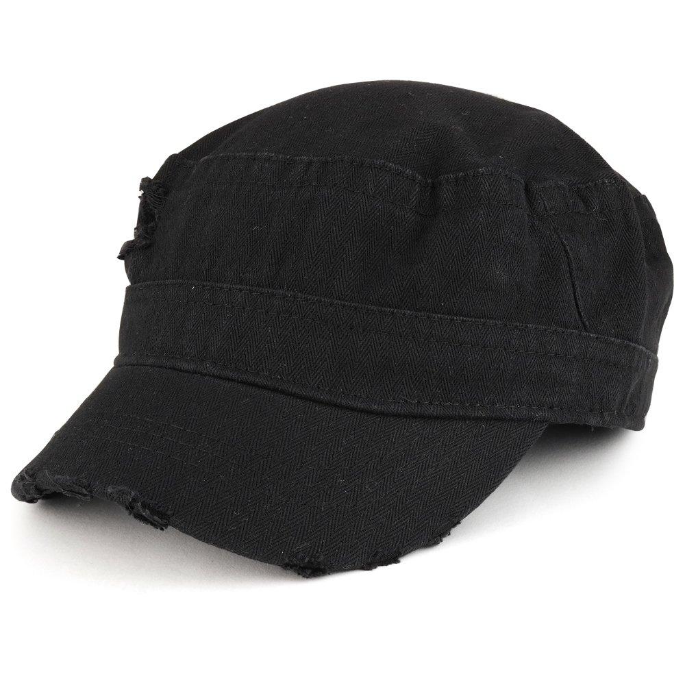 Frayed Herringbone Textured Elastic Band Jeep Style Cap - Black