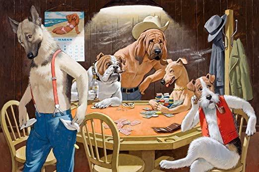 Modern Painting Art Bedroom Decor HD Print Dogs Playing Poker on Canvas 16x24