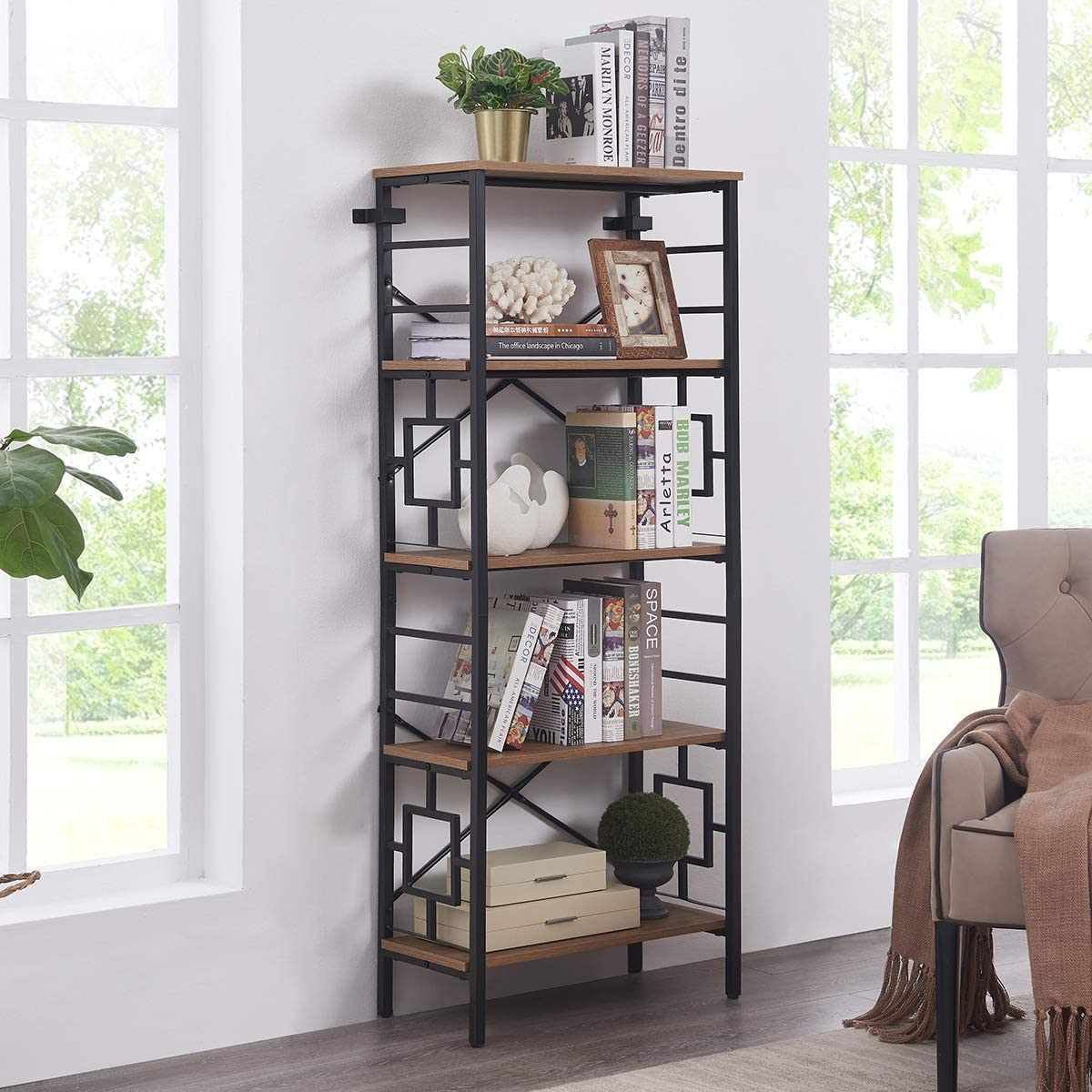 Homissue Industrial Open Bookcase, 5-Tier Tall Bookshelf Storage Display Rack for Home Office, Rustic Brown