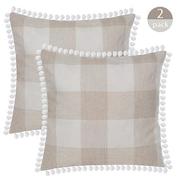 Amazon.com: SEEKSEE - Funda de almohada decorativa de lino y ...