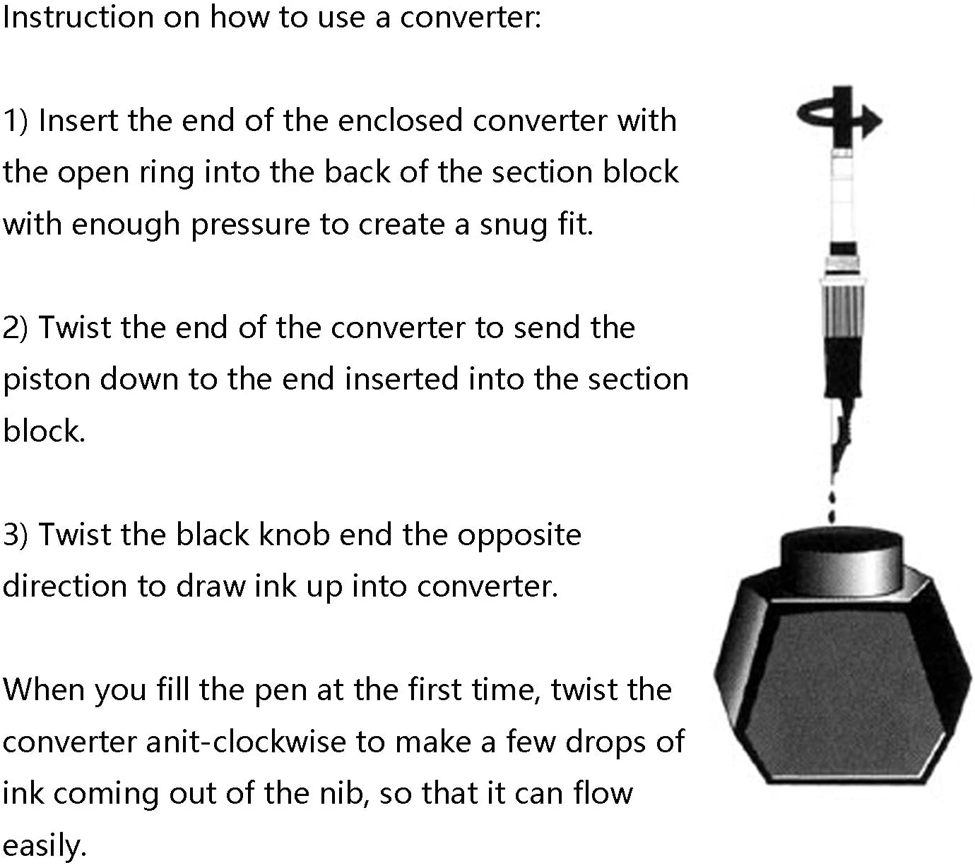 Hongdian Fountain Pen Ink Converter Pack of 5 Bore Diameter 3.4mm