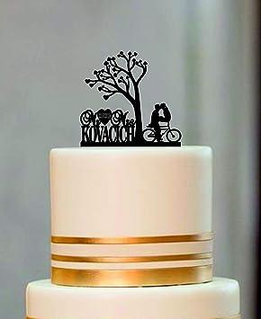 Decoración personalizada para tarta de boda con silueta de bicicleta, diseño rústico con árbol de la vida: Amazon.es: Hogar