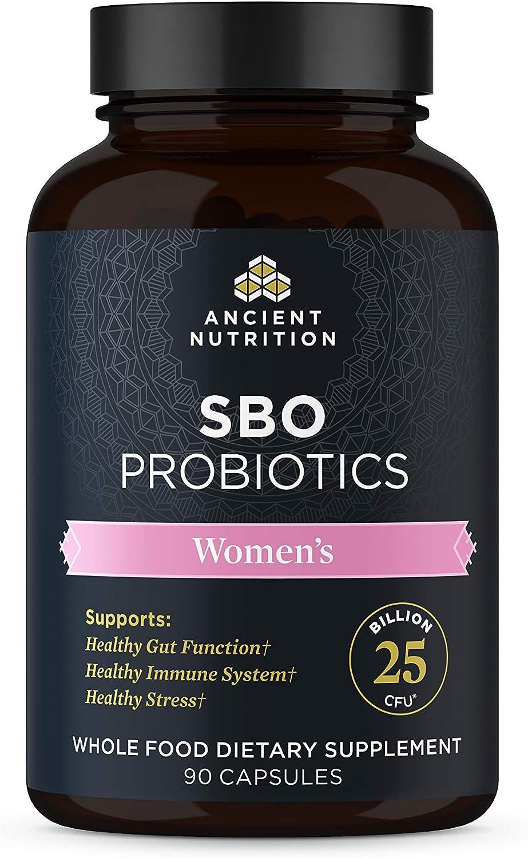 SBO Probiotics Women's, 25 Billion CFUs* Per Serving, Digestive & Immune Support, Soil Based Organisms and Organic Fermented Botanical Blend, Whole Food Supplement, 90 Capsules