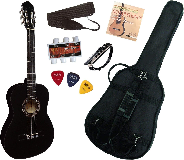 Guitarra española clásica (tamaño 4/4), color negro: Amazon.es ...