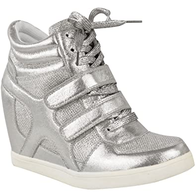 2f7464c1dcd Fashion Thirsty Womens Hi Top Wedge Sneakers Trainers Sport Ankle Boots  Size 6 Silver Metallic