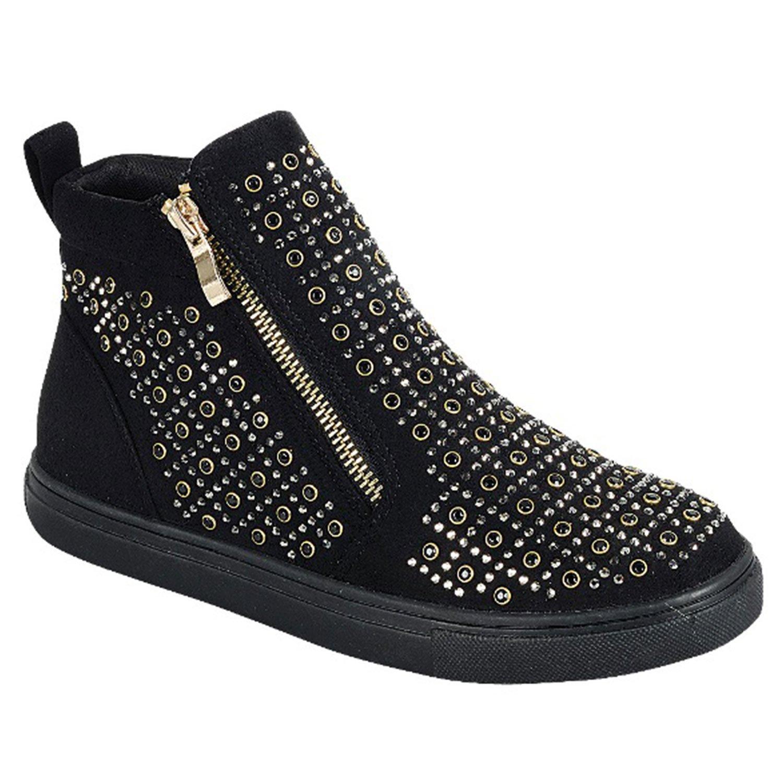 TravelNut Best Black Hightop Anti Skid Low Heel Bootie Round Toe Vegan Leather Zipper Glitter Slipon Bling Designer Trendy Beach Summer Shoe Sneaker for Sale Women Tween Girl (Size 10, Black)