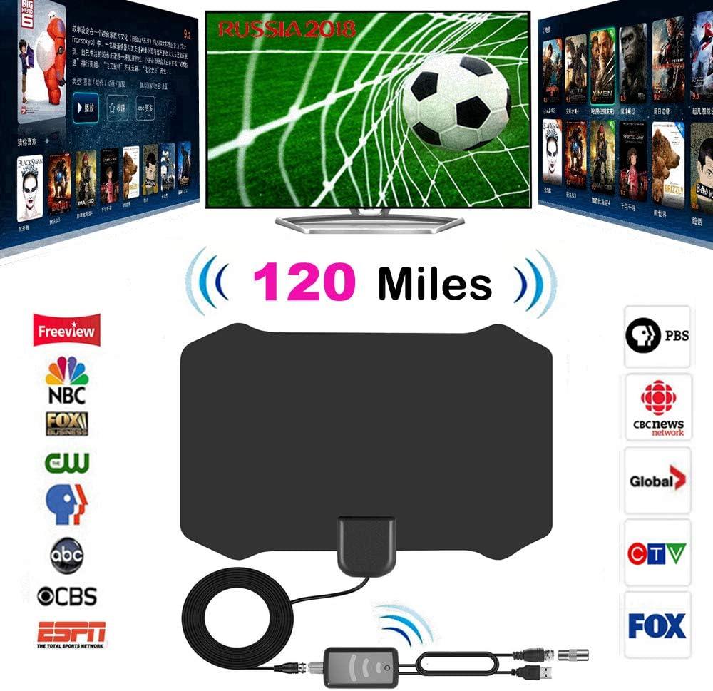 casefo Ryou TV Antenna Interna 120 Miles Digital HDTV Antena Amplificador de señal ampliado Habitaciones Antena Televisor Amplificador Singal Booster para DVB-T Sat Antennas – 13.2 ft Coax Cable: Amazon.es: Electrónica