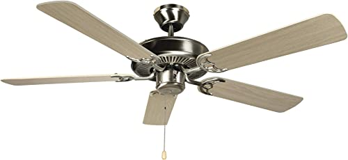 Hyperikon 42 Inch Ceiling Fan No Light, 55W, Remote Control and Pull Chain, Brushed Nickel Body, 5 Blades, Birch