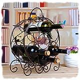 Elegant Espresso Brown Leaf Décor Metal 7 Bottle Organizer Wine Rack by MyGift