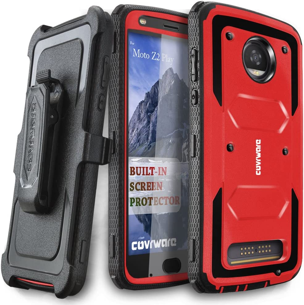 Moto Z2 Play / Z2 Force Case, COVRWARE [Aegis Series] w/Built-in [Screen Protector] Heavy Duty Full-Body Rugged Holster Armor Case [Belt Swivel Clip][Kickstand] for Moto Z2 Play / Z2 Force, Red