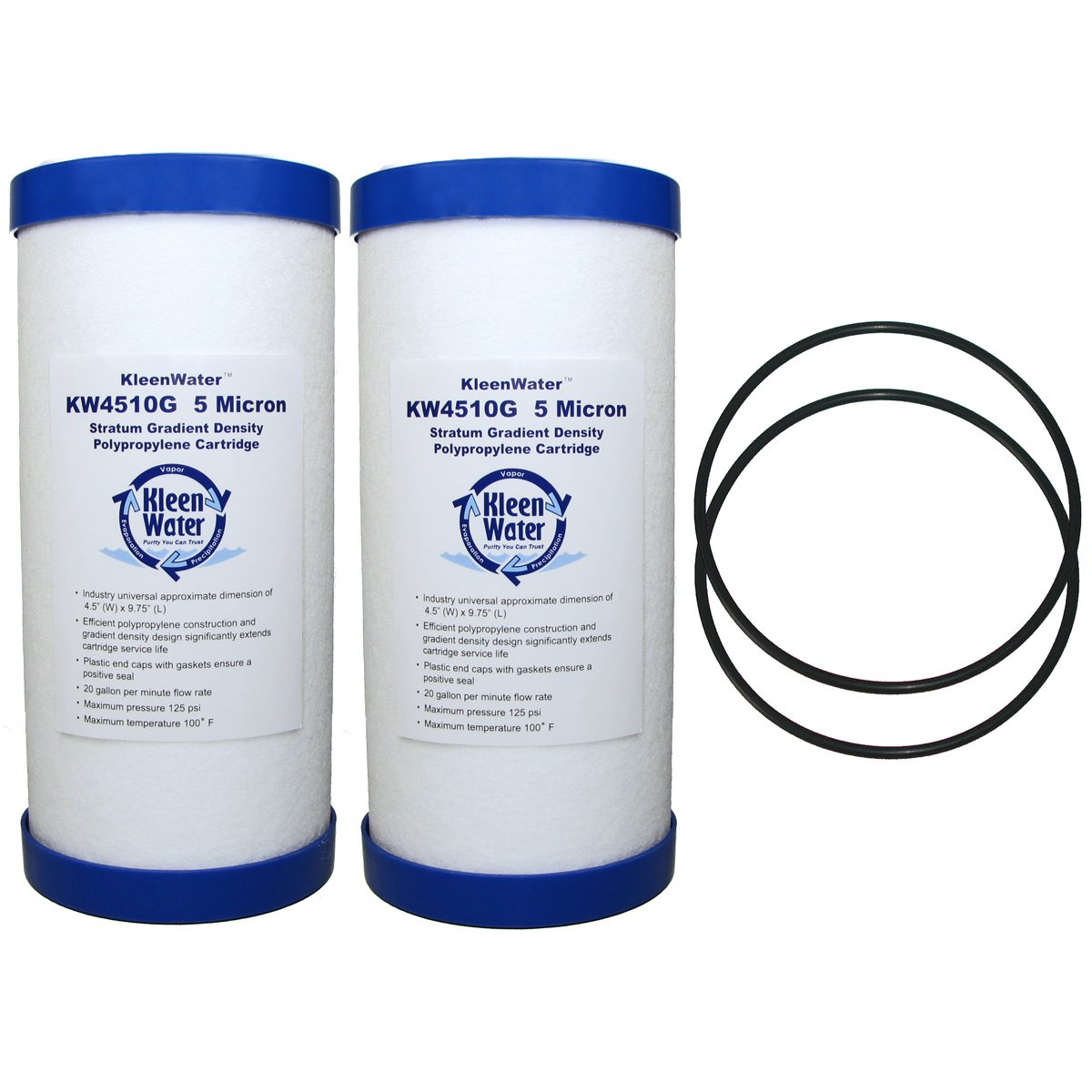 GE GXWH30C, GXWH35F, GXWH40L Compatible Filter and ws03x10039 O-ring, KleenWater Replacement O-rings and Dirt, Rust, Sediment Cartridges for General Electric Systems, 2 Orings, 2 Cartridges
