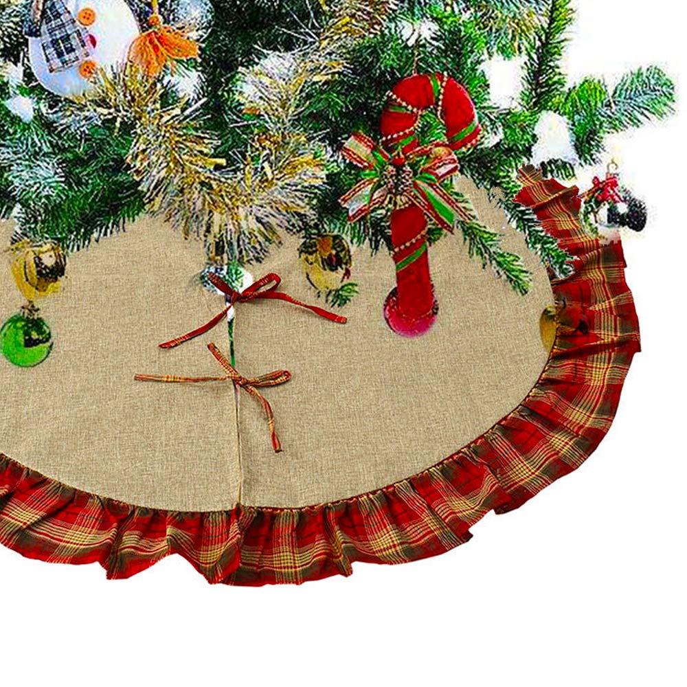 Hootech 48 Inch Christmas Tree Skirt Burlap Tree Ornaments Xmas Decorations White Snowflake Printed for Merry Christmas Party (plaid-48)