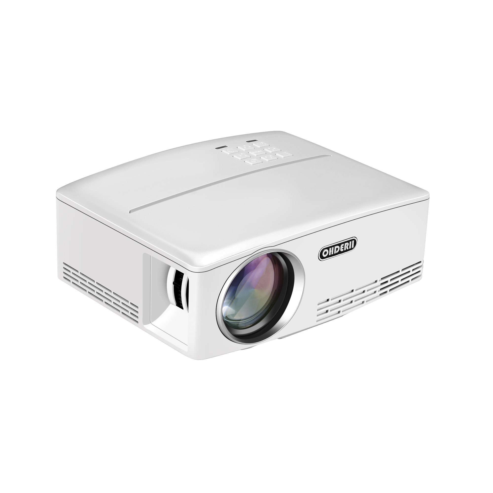 """Projector, ohderii 2018 Newest Upgraded LED Video Projector +30% Lumens for 180"""" Home Theater Support HD 1080P HDMI VGA AV USB for Laptop iPhone/iPad Sma For Watching (White)"""