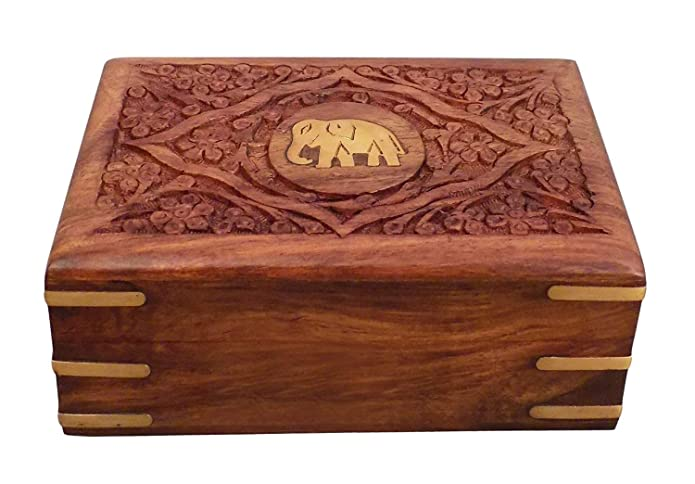 Carved Teak Magic Wardrobe.Wooden Jewelry Box With Inlay Elephant Design Vintage Jewelry Box For Women Girls Makeup Box 6 X 4 Inch