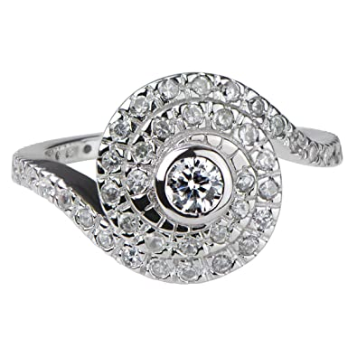 Amazoncom Silvertone and CZ Spiral Engagement Ring Jewelry